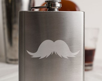 Mustache 4 Customizable Etched Stainless Steel Flask Barware Gift