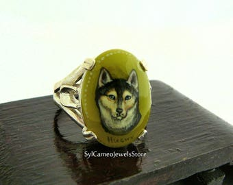 Husky Dog Hand Painted Cameo Ring Olive Jade Stone Sterling Silver Setting Original Wearable Art Jewelry