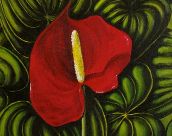 Red Anthurium, Red Lily, Square 10x10 Acrilyc Painting