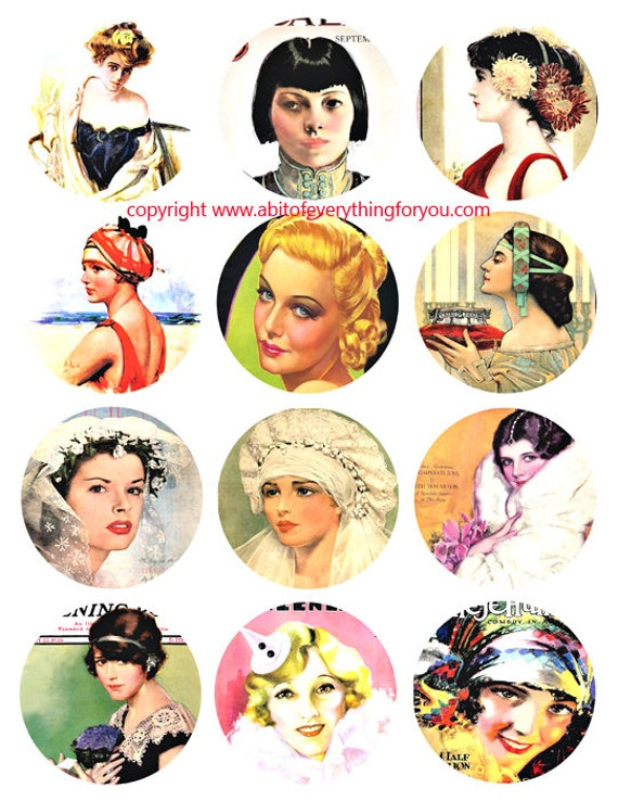 vintage women pinup girls advertisements collage sheet 2.5 inch circles clip art graphics images digital download craft printables