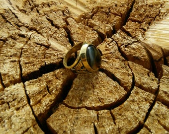 Agate Stone Ring in Brass