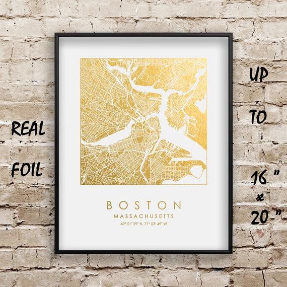 Boston City Map Gold Foil Print up to 16x20 Boston
