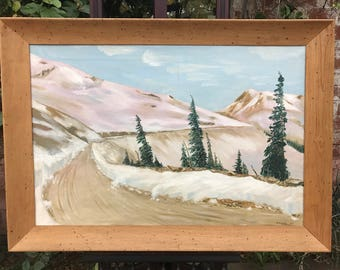 Vintage Oil Painting of a Mountain Road in Winter Signed by Swank (1953) Framed in Wormwood Frame
