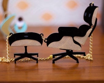 Eames Chair Necklace, Mid Century Modern, MCM furniture,  Acrylic Laser Cut Statement Necklace Gift for Her Laser Engraved Perspex Acrylic