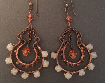 Copper with Swarovski Crystal Chandelier Earrings FREE SHIPPING
