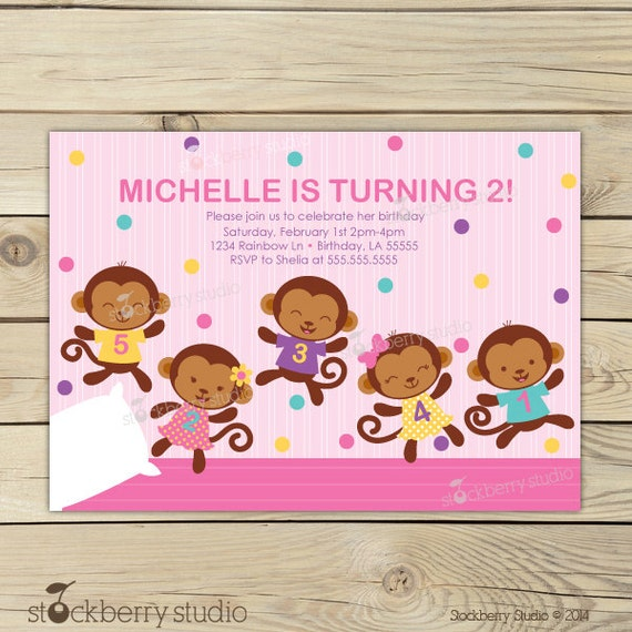 Girl 5 little monkeys invitations pink girl birthday party like this item filmwisefo Gallery