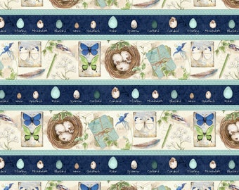 Bird Nest Fabric, Springtime, Butterfly - Nature Study, Nancy Mink for Wilmington Prints Fabric - 33821 147 Border - Priced by the 1/2 yard