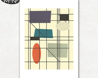 MOVEMENT (v3), Modern Mid Century Abstract, Giclee Fine Art Print for the Home Decor