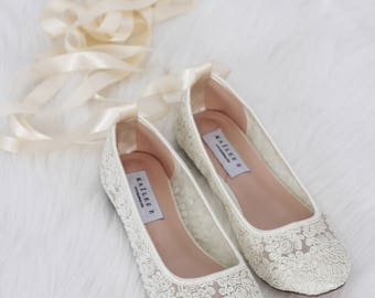 IVORY LACE Round Toe Flats With BALLERINA Lace Up   Women Wedding Shoes, Bridesmaid  Shoes