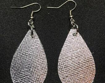 Leather earrings, Leather, Earrings, Metallic earrings, Saffiano earrings, Lightweight earrings, Petite earrings, Kid's earrings, Drop earri
