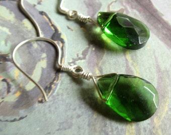 Emerald Green Earrings, Green Sterling Silver Earrings, Sterling Silver Earrings