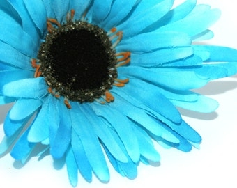 Aqua Blue Wild Gerbera Daisy - Artificial Flowers, Silk Flower Heads - PRE-ORDER