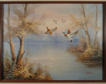 Impressionist Landscape Ducks Oil Painting on Canvas Original Art Vintage Mallard Painting Country Nature Lake Landscape Duck Art Framed