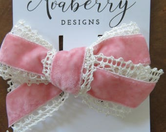 Large Pink Crochet Lace and Velvet Bow Clip or Headband