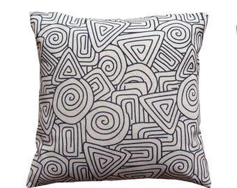 Black And White 100% Cotten Geometric Print Cushion Cover