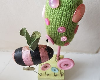 Bee sculpture, nursery art, bumble bee art.