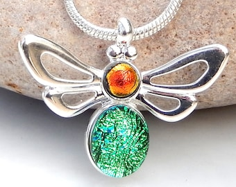 Little Bee Pendant, Dichroic Glass Pendant, Green and Copper Art Glass Butterfly Necklace, Fused Glass Jewellery