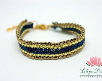 Golden beaded bracelet Peyote bracelet Bronze beaded bracelet Blue beaded bracelet Golden chain bracelet Beaded jewelry Peyote jewelry