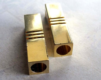 LOW Stock - Vintage Geometric Gold Plated Rectangle Slot Pendants (2X) (V435)