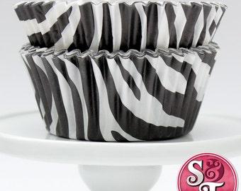 Black GREASEPROOF Zebra Baking Cups Cupcake Liners - Quantity 50