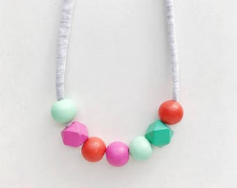 THE SOPHIA petite modern girls necklace, kids necklace, petite handpainted wooden bead necklace on fabric string