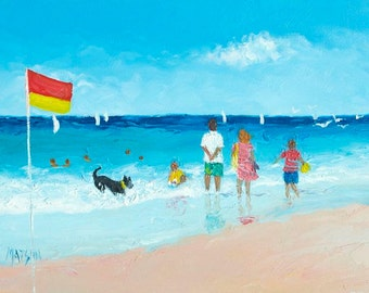 Beach painting, Beach Art, Beach decor, miniature art, Beach Scenes, 5x7 painting, seascape, beach artwork, Etsy art, Jan Matson