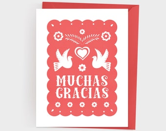 Papel Picado Muchas Gracias Card, Spanish Thank You Card, Gracias Card, Papel Picado Thank You Card, Printable