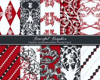 Digital Scrapbook Paper Pack Scrapbooking Background Papers RITZY RED 10 Sheets 8.5 x 11 Reds CHARCOAL Grey Gray 1005gg