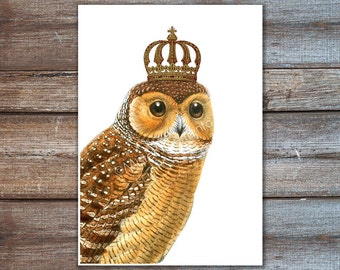 prints posters owl with crown art print - wall decor wall hanging housewares - royal owl decor
