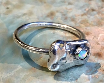 Opal ring, silver nugget ring, stacking ring, sterling silver ring, birthstone ring, simple dainty ring, delicate ring - Origin R2484-1