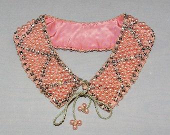 Vintage Pink Pearl and Rhinestone Beaded Collar 1950