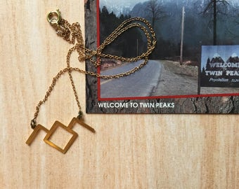 Owl Cave brass necklace with vintage brass chain- twin peaks inspired