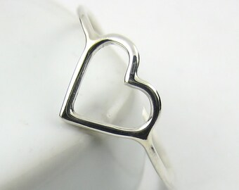 Sterling Silver Heart Ring, Sterling Silver Ring, Skinny Ring, Open Heart Ring, Slim Ring, Minimalist Ring
