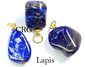 Tumbled LAPIS Pendant with Gold Bail (TU15DG)