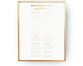 2018 Gold Calendar, Wall Calendar, Minimal Handwritten, Christmas Gift, Wall Hanging, Hand Lettered Calligraphy, Real Gold Foil Print