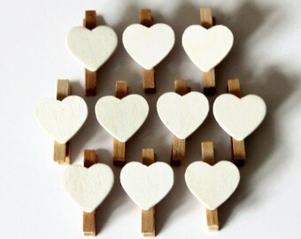 10 Mini Heart Pegs - 30mm x 18mm - Memo Favours - Valentine Heart Pegs - White Peg Favors - Peg Clips - Wedding Place Cards OC38