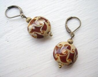 Glass earrings, glass bead earrings, lamp work earrings, lamp glass earrings, brown and beige, earth tones, warm colours