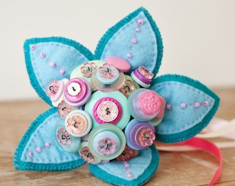 Flower Girl Button Bouquet with beaded felt leaves and ribbons