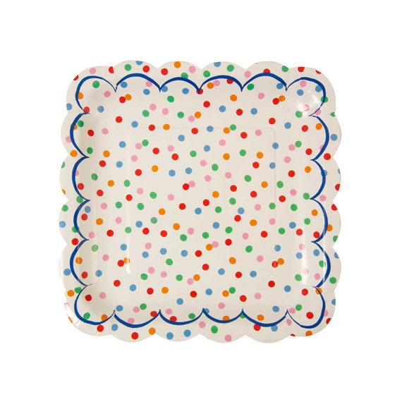 Polka dot paper plates with scalloped edges. Set of 12. Rainbow party paper SMALL plates. Circus party paper plates. Spotted DESSERT plate. from ...  sc 1 st  Etsy Studio & Polka dot paper plates with scalloped edges. Set of 12. Rainbow ...