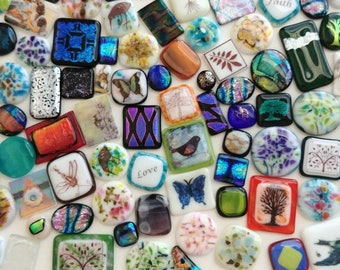A Little Bit of This and That Destash -  100 Piece Fused Glass Cabochons