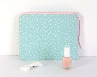 Trousse à maquillage en coton, coloris vert d'eau et rose