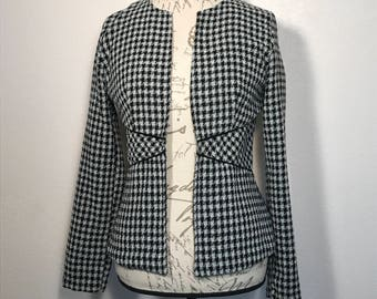 Vintage 90s Checked Boucle Blazer Black/White Checked Blazer