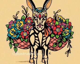Day of the Dead BURRO Donkey Dia de los Muertos Art Print 8 x 10 or 11 x 14