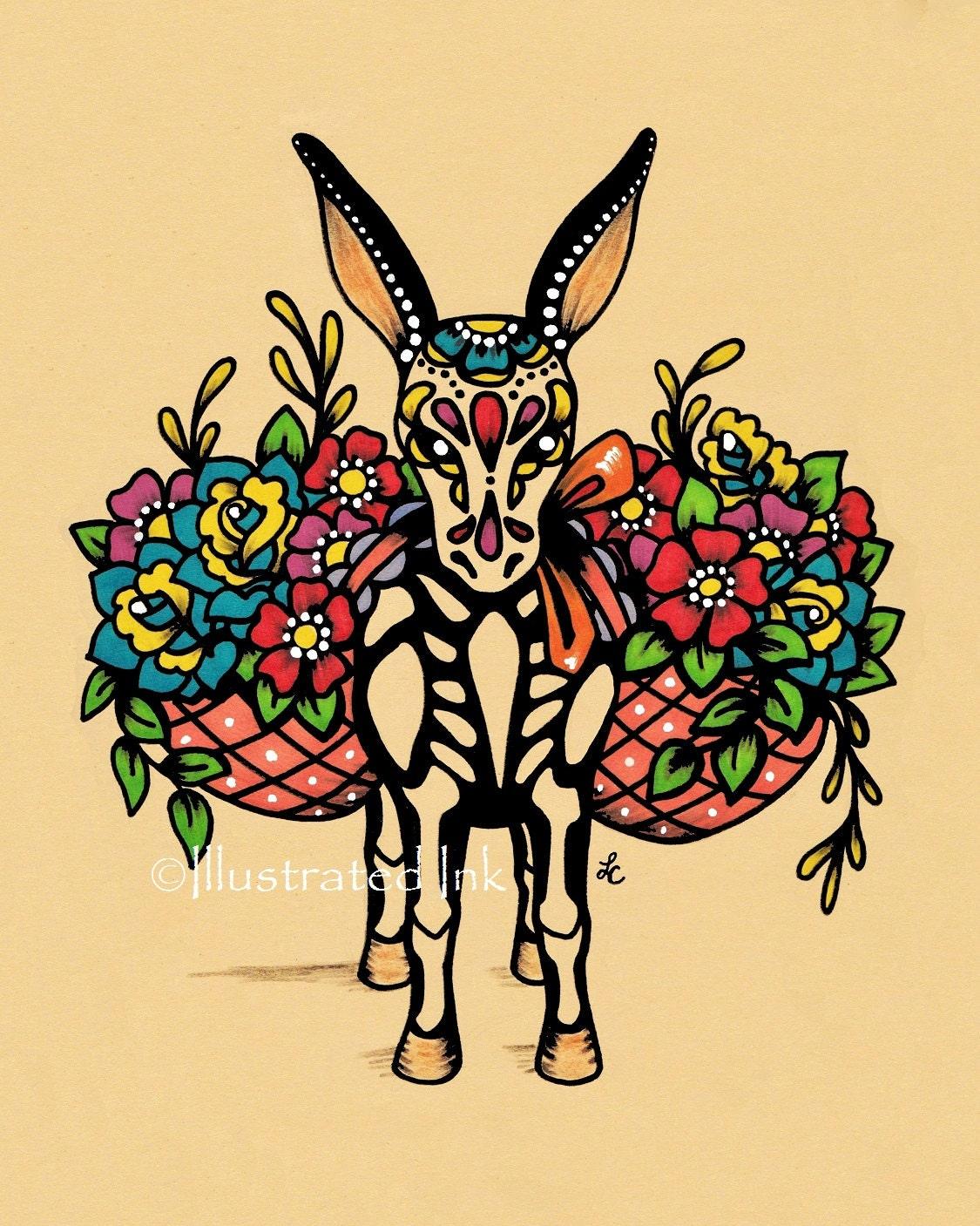 Day of the Dead BURRO Donkey Dia de los Muertos Art Print 8 x