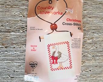 Country Wireworks Christmas Cross-Stitch Kit Gander w/Wreath