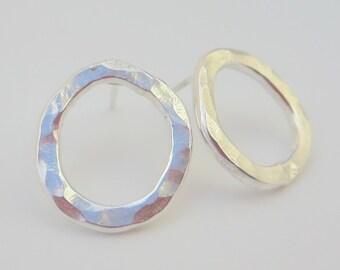 Silver Hoop Post Earrings, Organic Hoop Posts, Hammered Silver Earrings