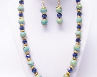 Green & Caramel Glass Bead Necklace/Bracelet/Earrings Set