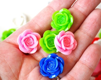 25 Pc. Resin Flower Cabochons 18 mm