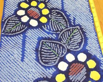 62 Inches long Vintage Japanese Indigo Cotton Tie Dye Shibori Yukata Kimono Fabric