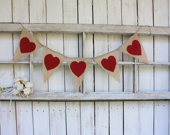 Fabric heart garland with color of your choice